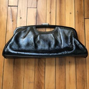 Elliott Lucca Ombre Grey Black Leather Clutch GUC